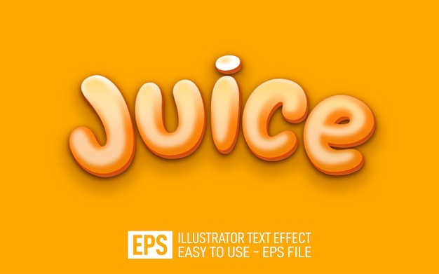 Modèle d'effet de style modifiable de texte de jus 3d
