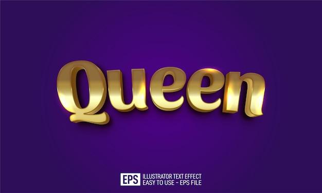 Modèle d'effet de style modifiable de texte queen 3d