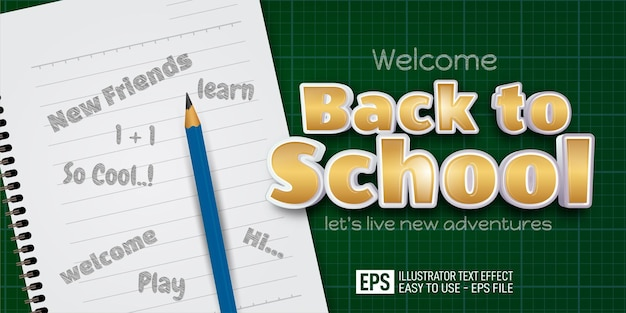Modèle d'effet de style modifiable vertical de bannière de texte 3d de retour à l'école
