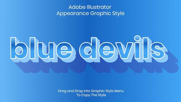 Modèle d'effet de style de texte blue devils