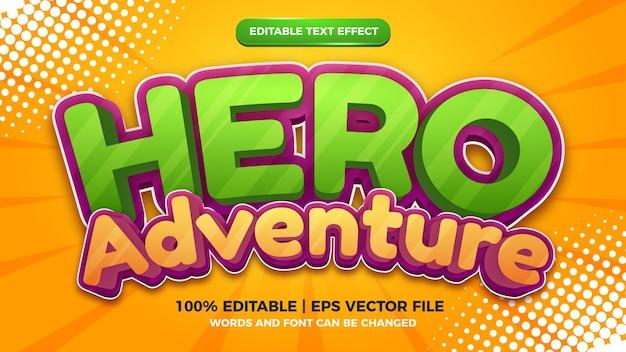 Modèle d'effet de style de texte modifiable en 3d de bande dessinée d'aventure de héros