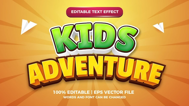 Modèle d'effet de style de texte modifiable en 3d de bande dessinée d'aventure pour enfants