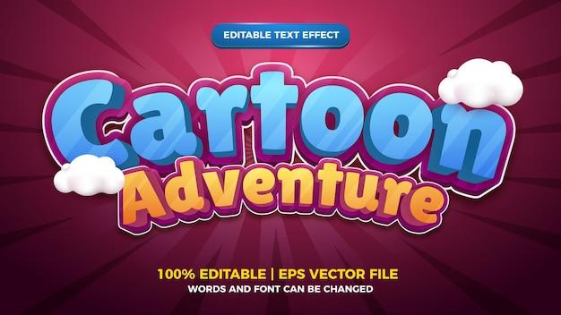 Modèle d'effet de style de texte modifiable en 3d de bande dessinée d'aventure