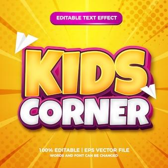 Modèle d'effet de style de texte modifiable 3d bande dessinée de coin pour enfants