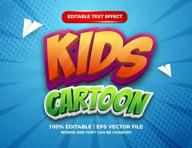 Modèle d'effet de style de texte modifiable en 3d de dessin animé pour enfants