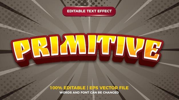 Modèle d'effet de style de texte modifiable en dessin animé primitif 3d