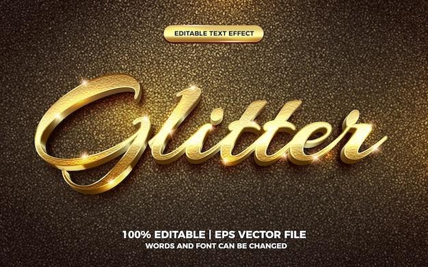 Modèle d'effet de style de texte de paillettes d'or 3d modifiable