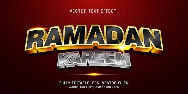 Modèle d'effet de style de texte ramadan kareem