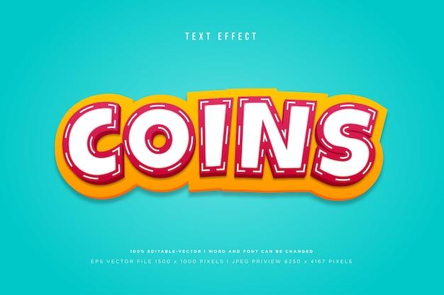 Modèle d'effet de texte 3d de pièces de monnaie