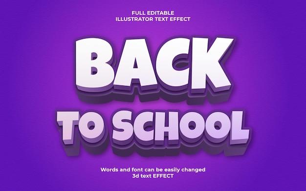 Modèle d'effet de texte 3d de retour à l'école avec la couleur pourpre