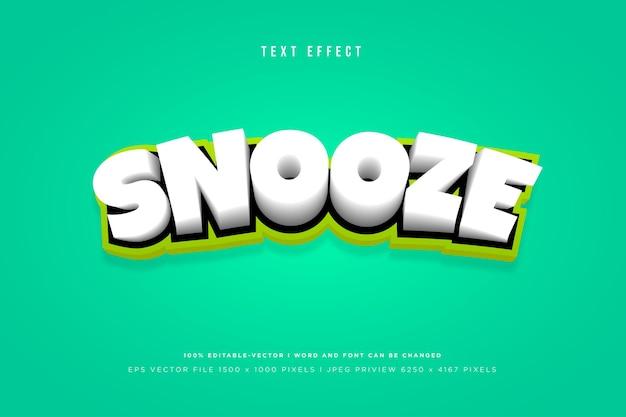 Modèle d'effet de texte 3d snooze
