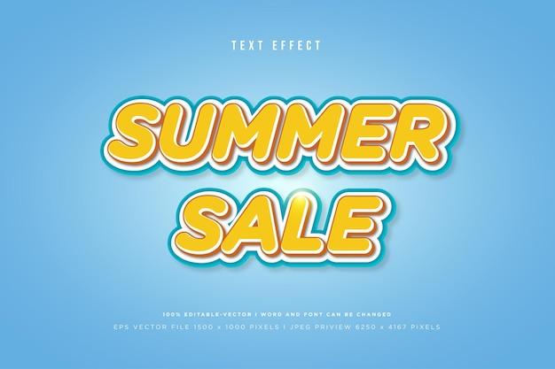 Modèle d'effet de texte 3d de vente d'été