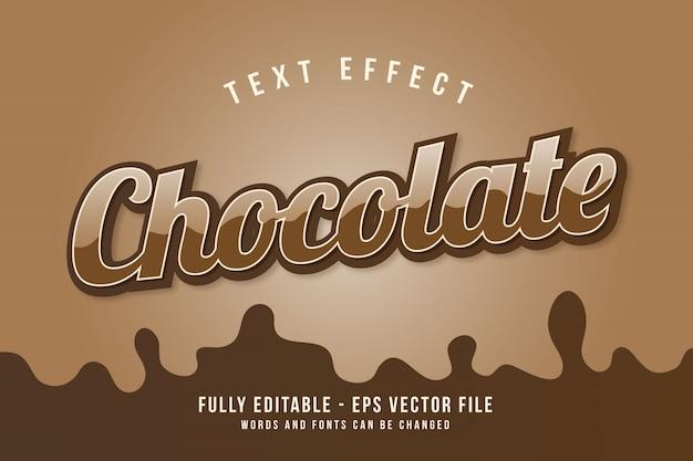 Modèle d'effet de texte au chocolat avec effet de police modifiable de style 3d