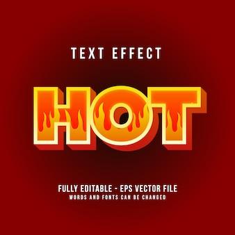 Modèle d'effet de texte chaud avec effet de police modifiable de style 3d