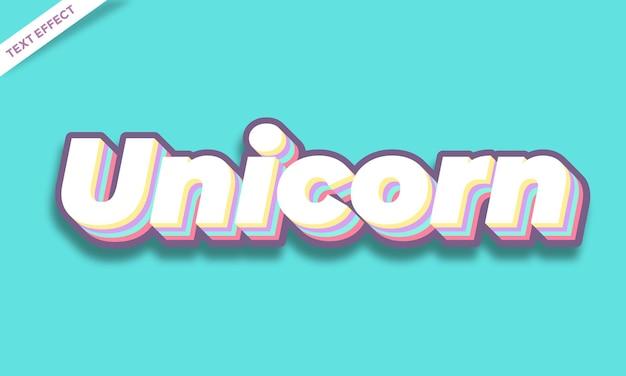 Modèle d'effet de texte coloré licorne