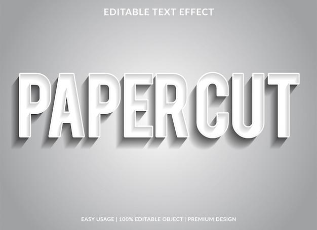 Modèle d'effet de texte coupé en papier avec type argent