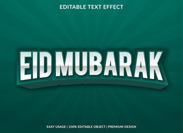 Modèle d'effet de texte eid mubarak avec un style abstrait utilisé pour le logo et la marque de l'entreprise