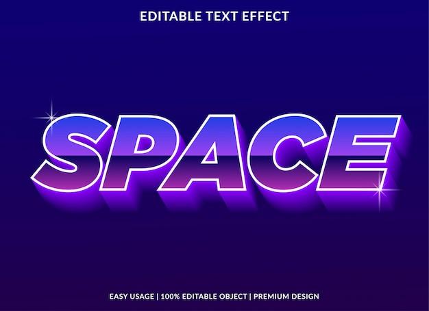 Modèle d'effet de texte espace avec style néon et brillant