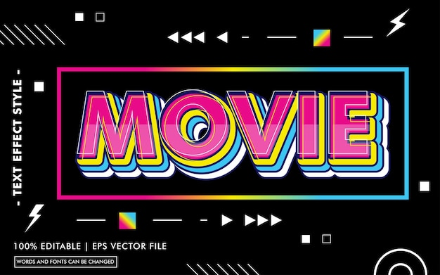 Modèle d'effet de texte de film