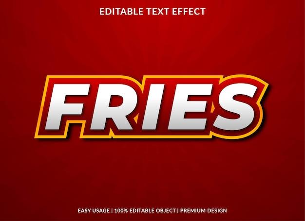 Modèle d'effet de texte de frites style premium