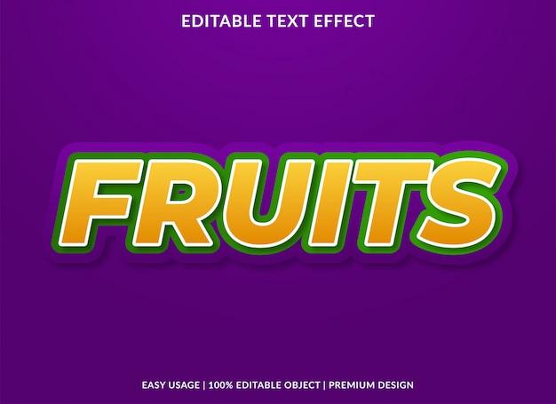 Modèle d'effet de texte de fruits avec un style premium