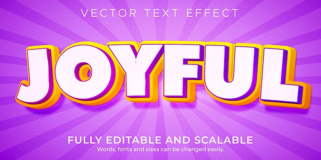Modèle d'effet de texte joyeux dessin animé