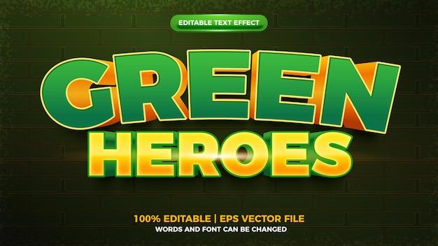 Modèle d'effet de texte modifiable en 3d de dessin animé audacieux de héros verts
