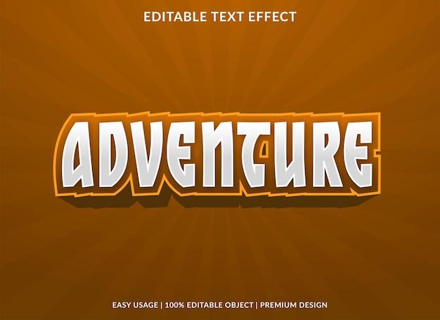 Modèle d'effet de texte modifiable aventure vecteur premium