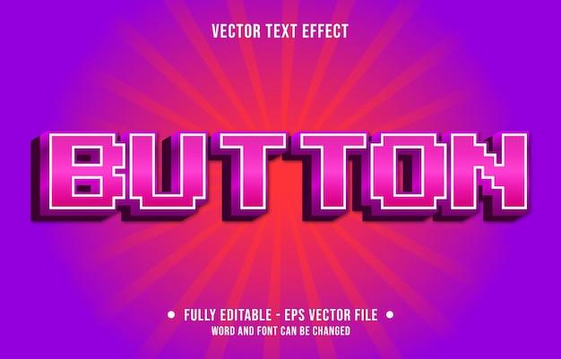 Modèle d'effet de texte modifiable bouton de jeu rétro style de couleur dégradé premium