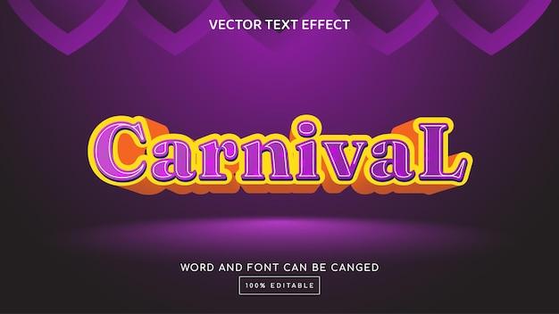 Modèle d'effet de texte modifiable carnival 3d