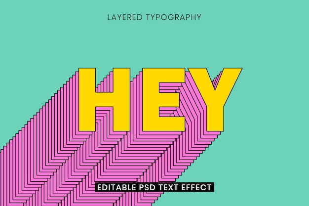 Modèle d'effet de texte modifiable en couches typographie 3d