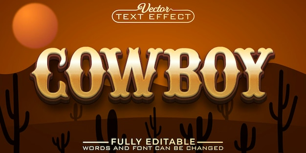 Modèle d'effet de texte modifiable cowboy