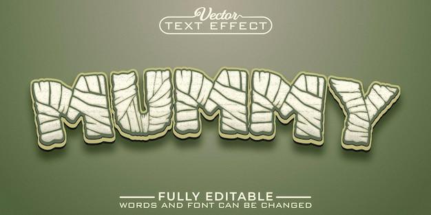 Modèle d'effet de texte modifiable de dessin animé de momie