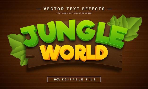 Modèle d'effet de texte modifiable du monde de la jungle