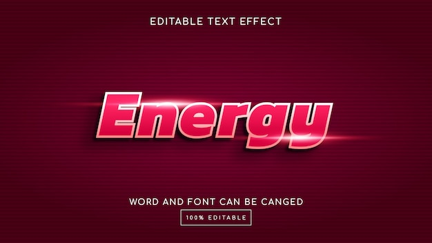 Modèle d'effet de texte modifiable energy 3d