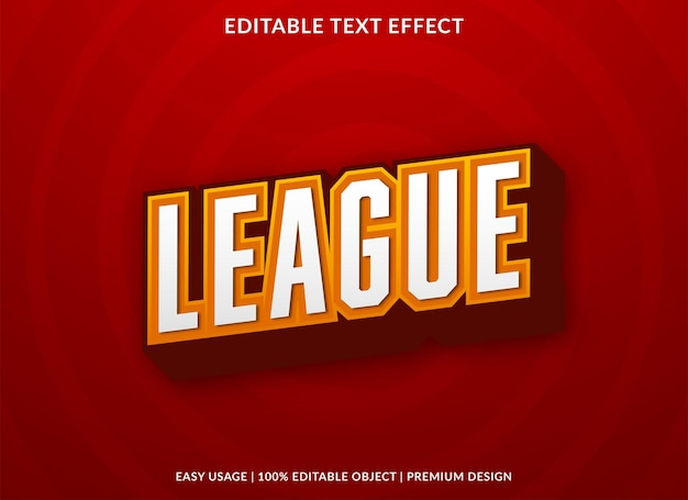 Modèle d'effet de texte modifiable de ligue style premium