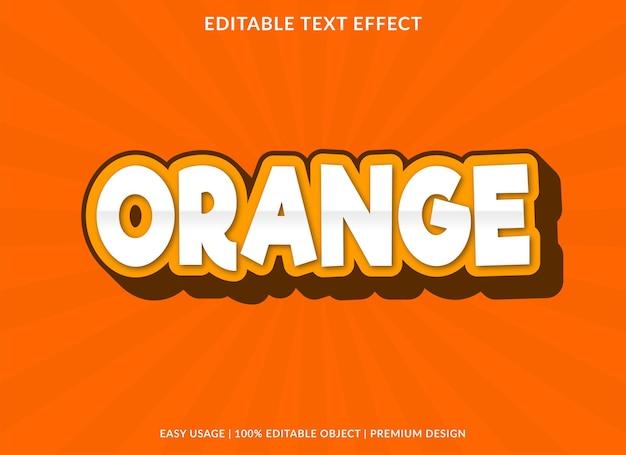 Modèle d'effet de texte modifiable orange style premium