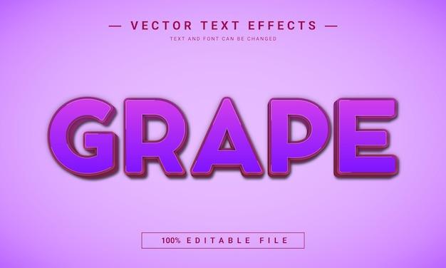 Modèle d'effet de texte modifiable raisins 3d