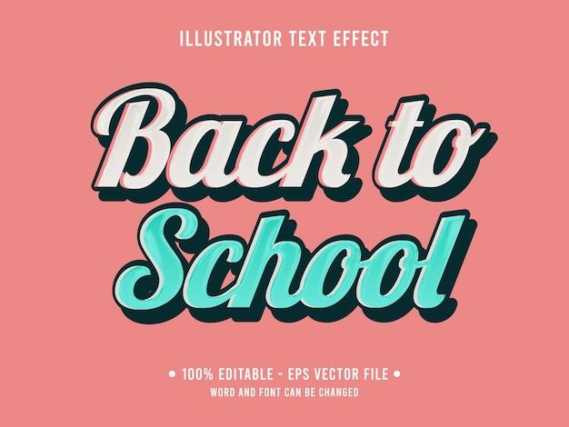 Modèle d'effet de texte modifiable de retour à l'école