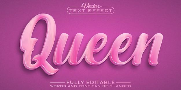 Modèle d'effet de texte modifiable rose queen