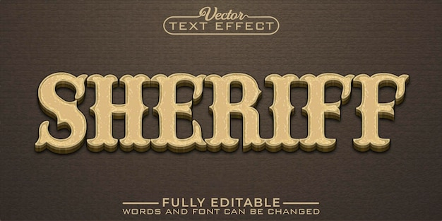 Modèle d'effet de texte modifiable de shérif vintage