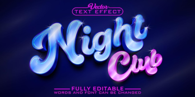 Modèle d'effet de texte modifiable shiny night club