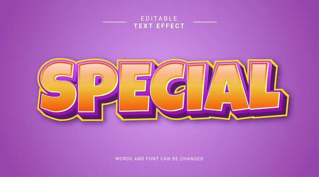 Modèle d'effet de texte modifiable spécial 3d violet jaune