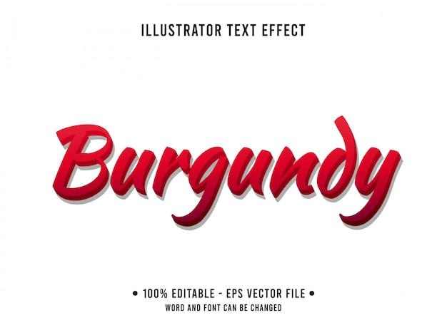Modèle d'effet de texte modifiable style bordeaux rouge