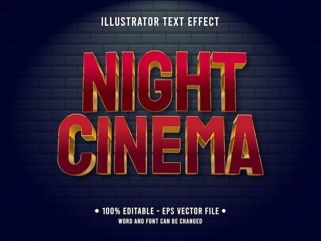 Modèle D'effet De Texte Modifiable Style De Cinéma De Nuit Rouge Vecteur Premium