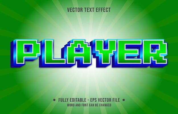 Modèle d'effet de texte modifiable style de couleur dégradé de joueur rétro premium