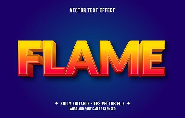 Modèle d'effet de texte modifiable style de flamme de feu orange