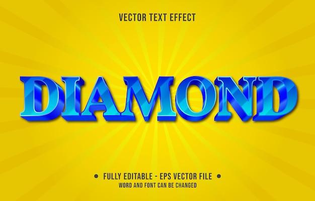 Modèle d'effet de texte modifiable style moderne de couleur dégradé de diamant bleu