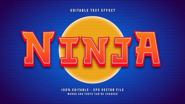 Modèle d'effet de texte modifiable de style rétro ninja 3d