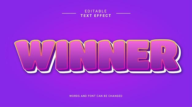 Modèle d'effet de texte modifiable violet gagnant 3d